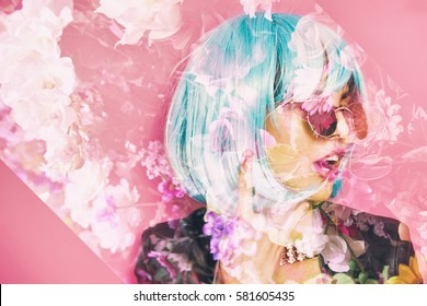Double exposure of pop girl making the horns and flowers