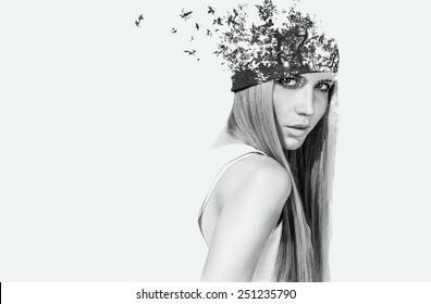 double exposure portrait of attractive girl