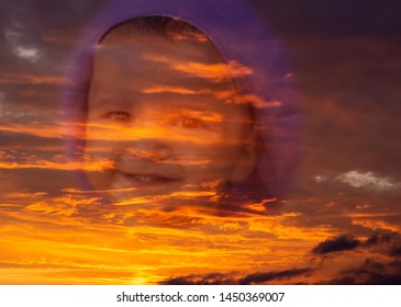 Double exposure portrait of a baby girl. Cloudy sky at sunset. Art design photography.