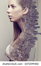 Double exposure portrait of beautiful blonde woman merged with urban city