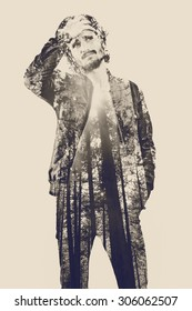 Double exposure portrait of handsome young man