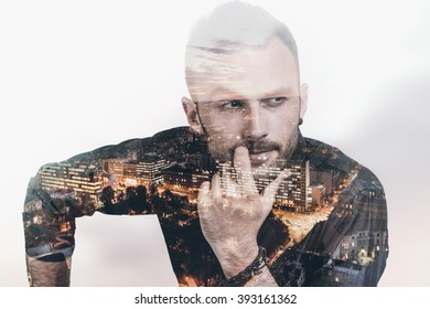 Double exposure portrait of self-confidence man