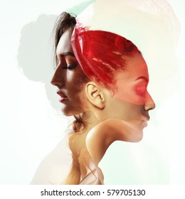 Double exposure portrait of two beautiful fashion girls. Young women in love.