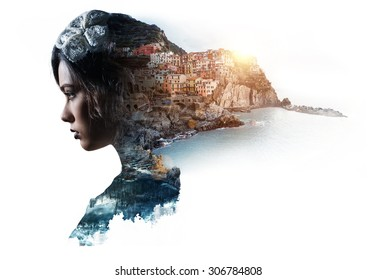 Double exposure portrait of a woman and view of Manarola. La Spezia, Liguria, northern Italy. Toned image