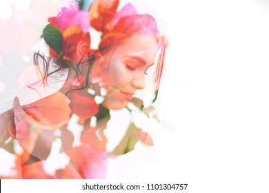 Double exposure portrait of young pretty woman combined with photograph of bright spring garden flowers and leaves. Conceptual image showing unity of human with nature, beauty of youth and femininity