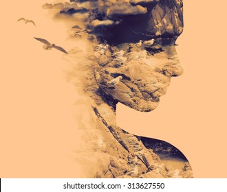 Double exposure portrait of young woman and nesting birds on the coast.