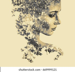 Double exposure portrait of young woman and maple.