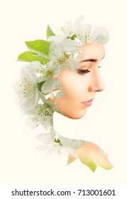 Double exposure portrait of young woman and blooming branch of the apple.