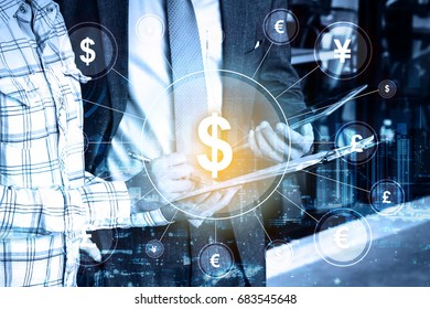 double exposure Professional businessman hold digital tablet and global currency money