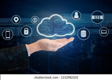Double exposure of professional businessman presented Cloud technology and internet of things and wireless network with blue tone background , business and technology concept