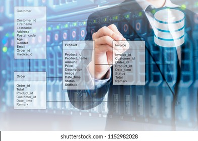 Double exposure of professional businessman system analysis design and drawing database table with futuristic background
