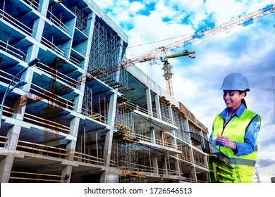 Double exposure of professional engineer in safety equipment and construction site