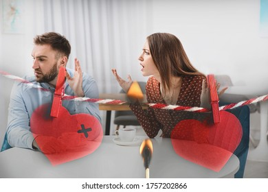Double exposure of quarreling couple, red paper hearts on rope and burning match. Relationship problems