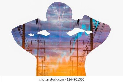 Double exposure Rear view of businessman,electric pole, and sky stock graph background,abstract concept of volatility stocks and energy businesses in global market.