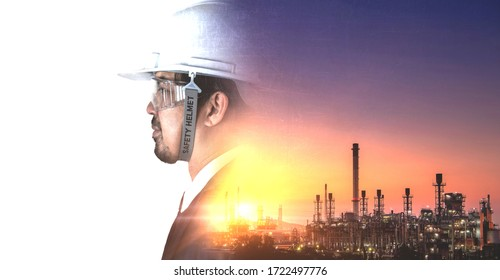 Double exposure of Refinery industry engineer with safety helmet and abstract background for copy space.