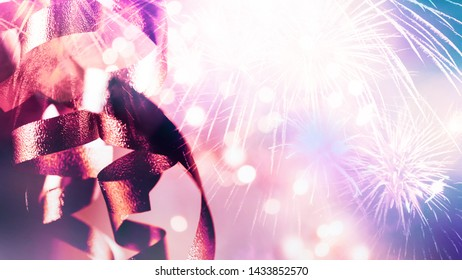 Double exposure of ribbons, fireworks and blurred bokeh in vivid colorful style for 4th of July, festival , anniversary, celebration, new year, Christmas concept background