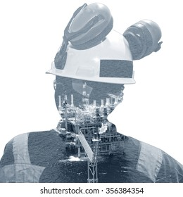 Double exposure of rig and worker