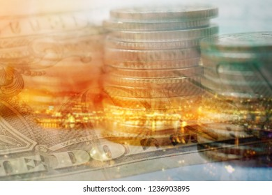 double exposure of row of coins ,bank note and blurred city for business and finance background