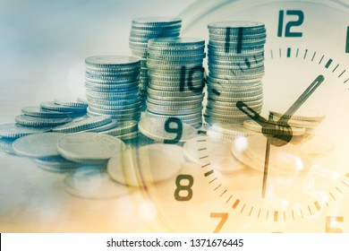 double exposure of row of coins and clock for business and finance background