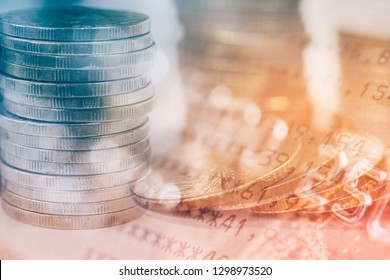 double exposure of row of coins and credit card with book bank for business and finance background
