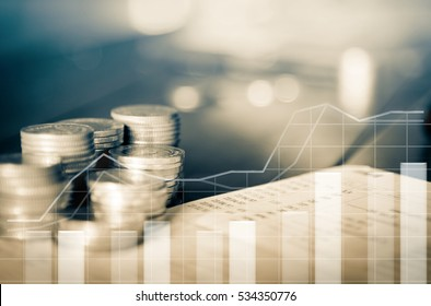 double exposure of rows of coins and account book in finance and banking concept
