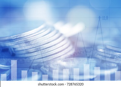 Double exposure Rows of coins of Graph on the table,finance and business concept,Money,soft focus and blurred style,dark tone.