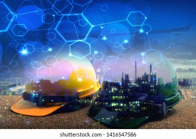 Double exposure of Safety hard  hats on background power plant with polygon line connection .Concept for safety and construction .
