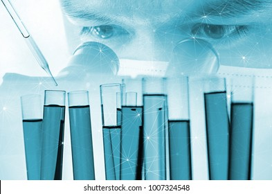 double exposure of scientist or doctor using microscope with science laboratory test tube