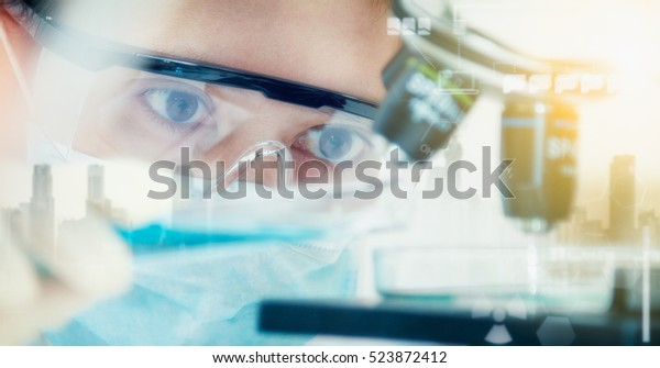 Double exposure of scientist with equipment and science experiments ,laboratory glassware containing chemical liquid for design or decorate your content,copy space,mock up.