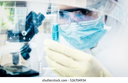 Double exposure of scientist with microscope, equipment and science experiments ,laboratory glassware containing chemical liquid, copy space,mock up.