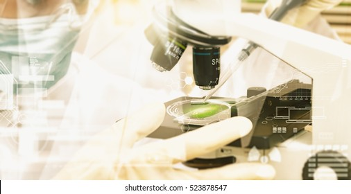 Double exposure of scientist taking aliquote of an enzyme in modern lab, science concept,copy space,mock up,film effect.