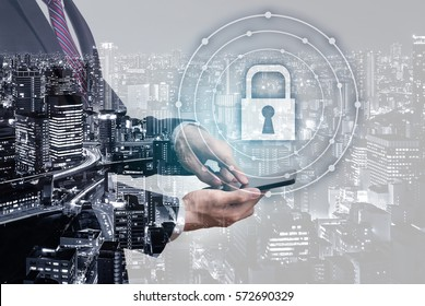 Double exposure security concept - businessman show the padlock symbol on phone screen with city overlay
