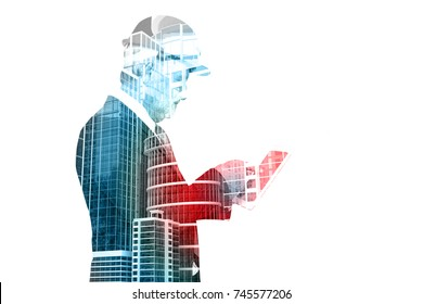Double Exposure of Senior Executive Businessman in Suit with City Building Construction site in Modern City as Real Estate Project Development Concept.