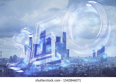 Double exposure of seo drawing on cityscape background. Concept of data search optimization engine
