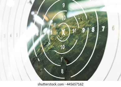 Double exposure. Shooting target at the Globe . Illustration of a target by a sniper. world terrorist concept.
