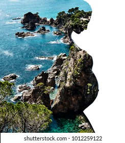 Double exposure. Silhouette of pregnant woman combined with a rocky coast and sea