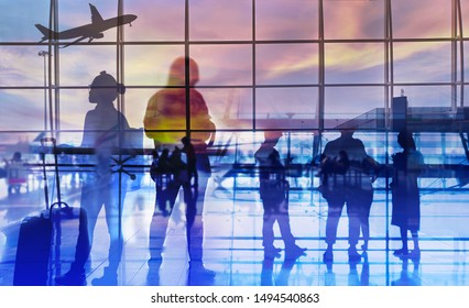 Double exposure silhouettes of passenger walking at airport with people. Business airline concept.