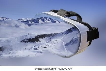 Double exposure / Ski centre, Les Deux Alpes, entering VR headset