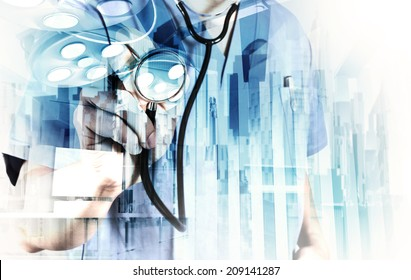 Double exposure of smart medical doctor working with abstract city as concept