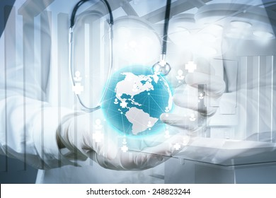 Double exposure of smart medical doctor holding the world with network diagram as concept