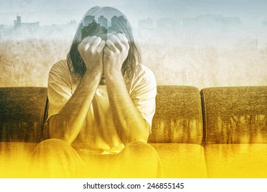 Double exposure, Social Alienation Concept, Depressed Man covering face and crying in despair.