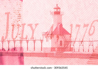Double exposure St. Joseph north pier lighthouse along shoreline of Lake Michigan with US constitution background