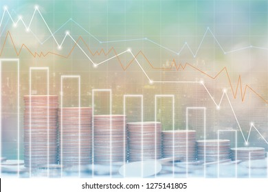 Double exposure of Stack coins money and graph on city background, investment and business concept