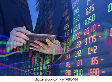Double Exposure Statistic index Graph of Stock Market Financial Indicator Data Business Woman Analysis Graph Background. Stock Market Data .Fintech Financial Internet Technology. Trading Concepts