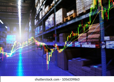 Double exposure of stock inventory shelf, modern logistics warehouse and technical price chart. For wholesale distributor, commercial business or logistics background concept.
