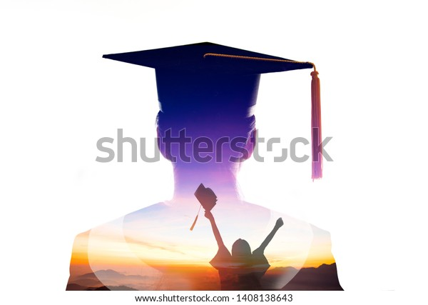 double exposure  of Student  Graduation watching the sunrise