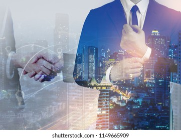 Double exposure of success business man city background.time for business.Engineer planing for construction internet connection.