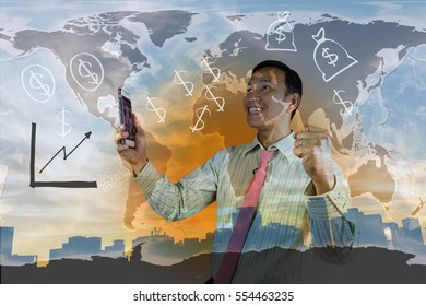 Double exposure of success businessman holding mobile phone  with city landscape background.connection symbols communication lines. Elements of this image furnished by NASA.