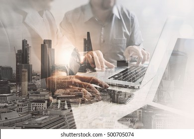 Double exposure of success businessman working in office with digital tablet laptop computer with London building and smart phone,filter effect