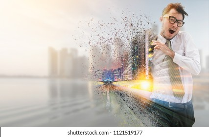 Double exposure surreal image of business man running fast in the city with modern buildings cityscape in the backgrounds. Concept of fast business   run competitions.
